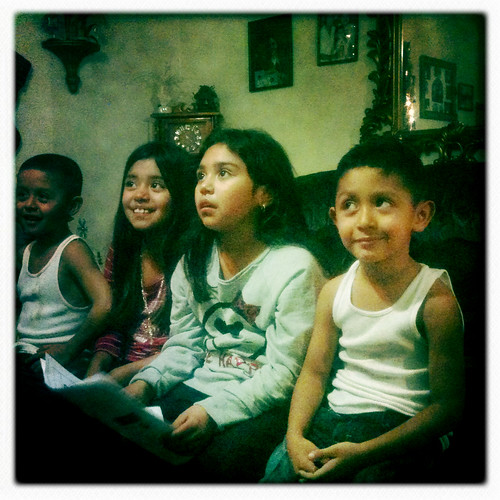 Cervantez kids at grandmas house on Christmas eve
