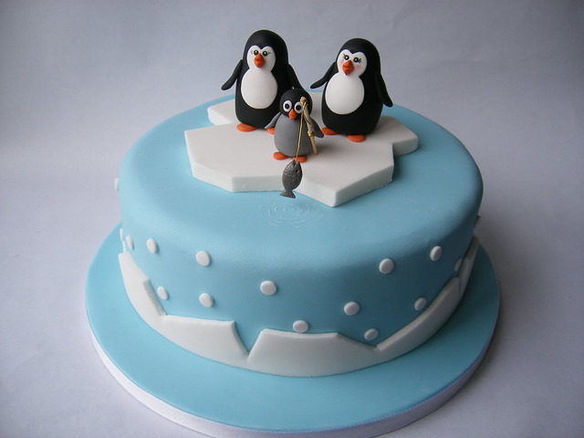Penguins on iceberg Christmas cake Flickr - Photo Sharing!