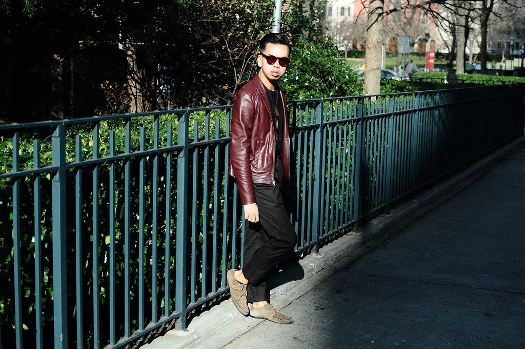 But my Hisham Oumlil blazer in the butteriest burgundy lambskin, cut sharp but still swingy, half-zipped and vaguely detailed like a perfecto