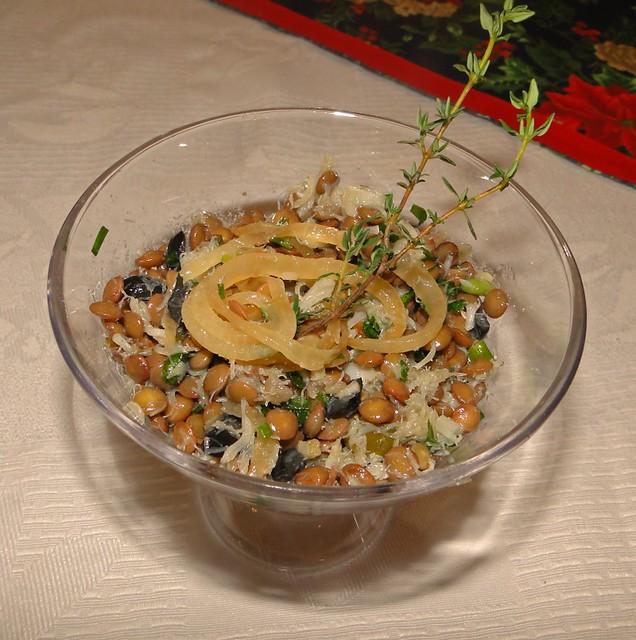 Salada de lentinhas e bacalhau