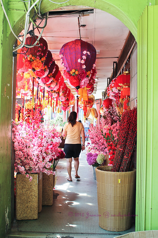 Corridor of Bright Chinese New Year decorations!