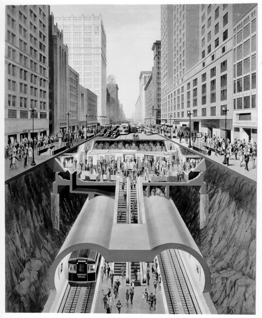 Cross-Section Rendering Of State St. Subway (1941)