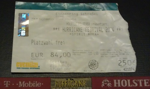Hurricane Festival 2004 ticket stub + wrist band