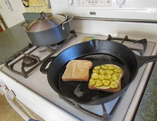 Grilled Cheese Hummus and Pickle Sandwich