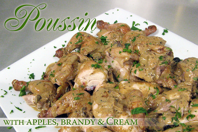 Poussin with Apples, Brandy and Cream