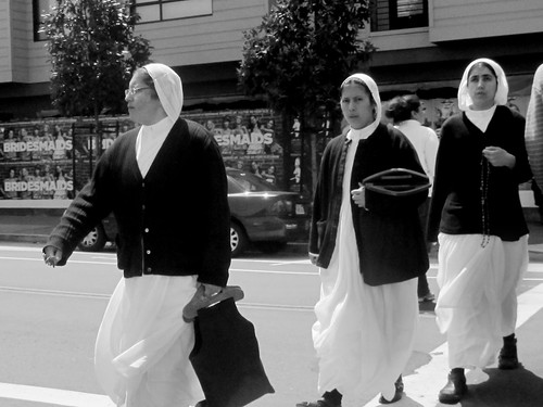 Three Nuns Crossing the Street