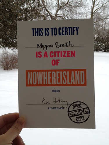 My Nowhereisland citizenship has arrived. Thanks #AlexHartley #Situations #CulturalOlympiad