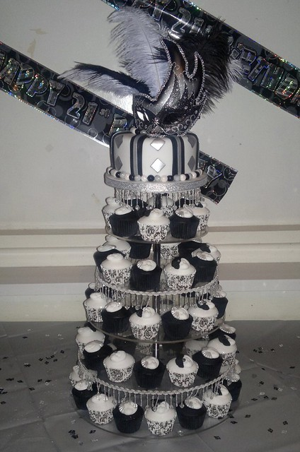 Black white and silver masquerade 21st birthday cake and - Black silver and white party decorations ...