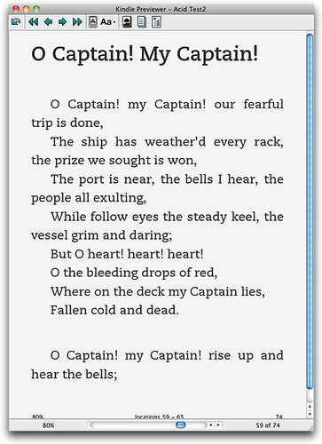Poetry, Kindle (old mobi)