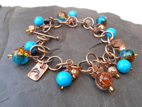 dolphin turtle starfish copper bracelet sea inspired by greensladejenny