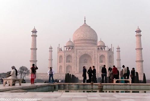 The Taj Mahal turns pink as the sun sets