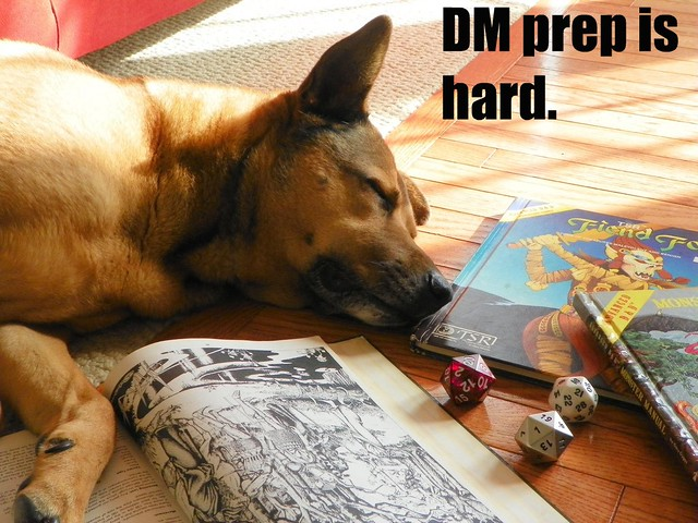 DM Dog - DM prep is tiring.