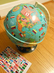 globe with magnetic flags 3