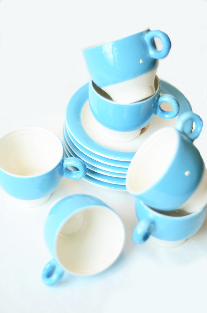 Vintage Blue and White Pagnossi Espresso Cups with Saucers