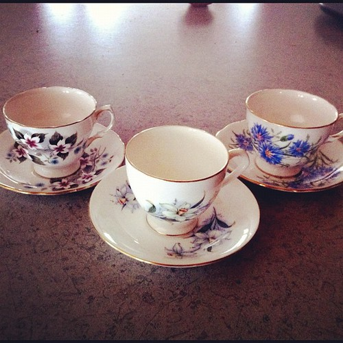 Three of my girls (@jdykstra, @tlbraam, and @vrogall) bought me tea cups. Love.