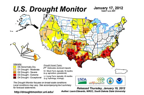 US Drought Monitor (by: Laura Edwards, SDSU via U of Nebraska)
