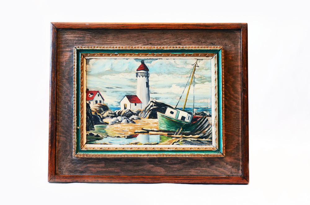 Vintage Lighthouse and Boat Painting