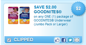 Goodnites Underwear Coupon