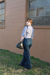 Double denim outfit: ruffled chambray shirt, high waisted Twenty8Twelve jeans, vintage Chanel bag