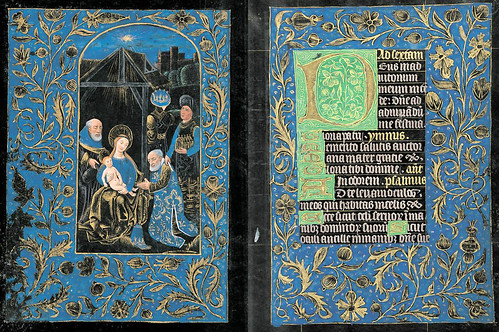 009-Adoración de los Magos-Horas de la Virgen- Sexta- The Black Hours-Ms M.493- fols. 58V-59r -© The Morgan Library & Museum