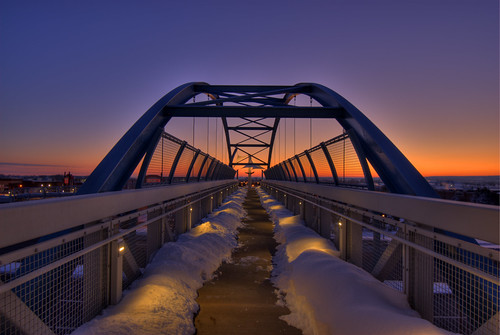 bridge footbridge bridgepix littleton denver colorado 201202 snow snowstorm facebook sunrise sky symmetry