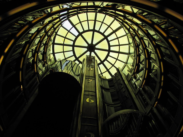 Looking up at the elevators