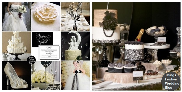 Ivory Black White Wedding Theme with Coordinating Dessert Table
