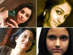 Collage of the three Shafia sisters and the first wife. The eldest two sisters look very posed and made-up. One of them is reflected in a mirror, taking her own picture with a cell phone