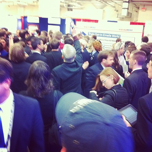 People trying to get a shot of Santorum