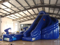 Blue inflatable double land water slide-04