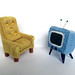 Tiny knitted armchair and tv by caffaknitted