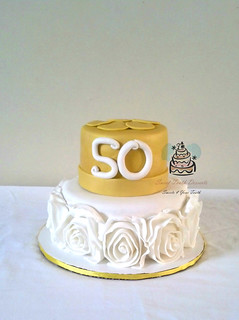 Cream and Gold Ruffle Rose 50th Birthday Cake