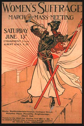 illustration of a poster with a white woman blowing a horn. Text reads Women's Suffrage March and Mass Meeting