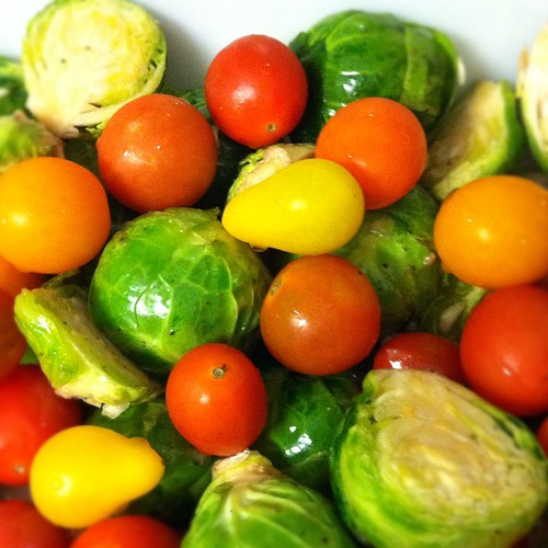 Sprouts and baby tomatoes.