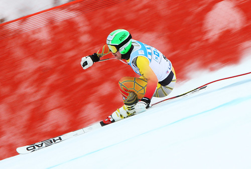 Dustin Cook downhill training at the 2011 Lake Louise Winterstart World Cup