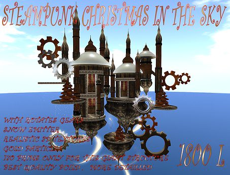 STEAMPUNK CHRISTMAS IN THE SKY 170 prims, 1800 lindens by Cherokeeh Asteria