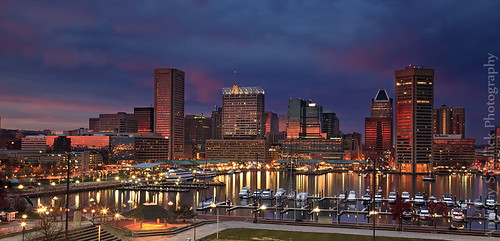sunset skyline md downtown maryland baltimore innerharbor