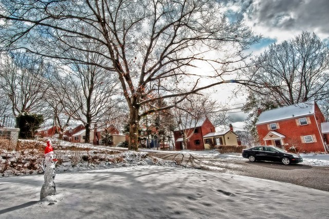 Front yard in winter HDR