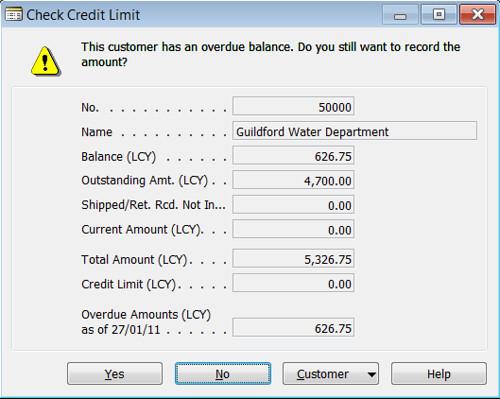 Customer - Overdue Balance Check