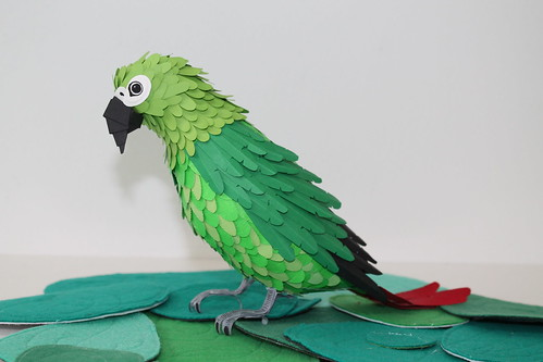 Pajaros,Papel,Paper,Birds,Diana Beltran,handmade,green,verde,feather,pluma,colombia,Parrot,loro
