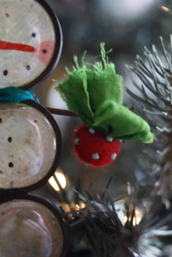 wee felted and beaded ornament