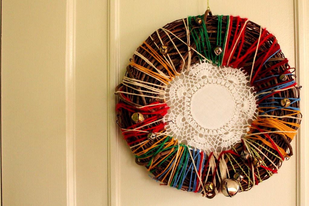 yarn and doily wreath