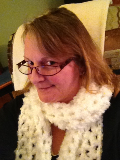 modeling the scarf i made tonight
