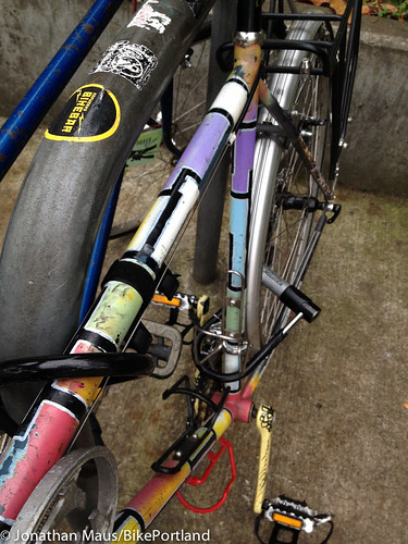 Locked Up: Colorful, quirky touring bike at NoPo Library - BikePortland org