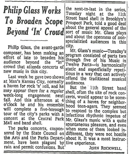 06-28-73 NYT Review - Philip Glass @ Max's Kansas City