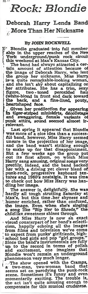 01-24-77 NYT Review - Blondie @ Max's Kansas City