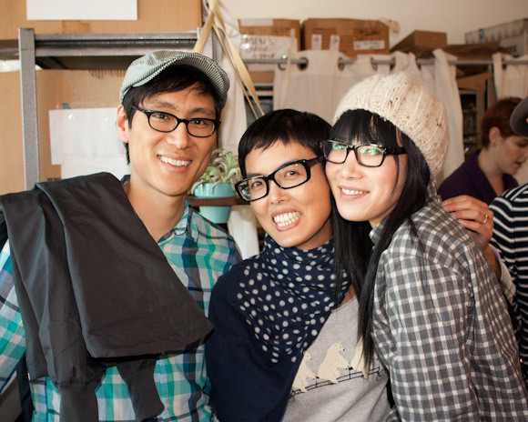 Derek Kirk Kim (Lowbright), Angie, and actress Vivian Bang