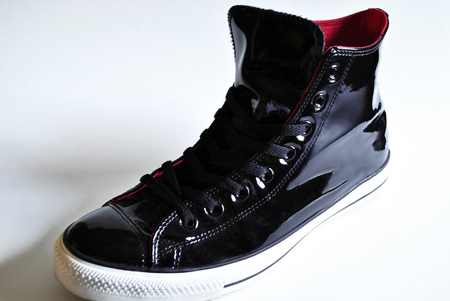 Converse Black Patent Leather High Top Tennis Shoes Style