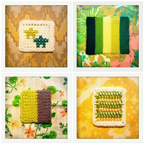 317-320::365 tunisian crochet squares