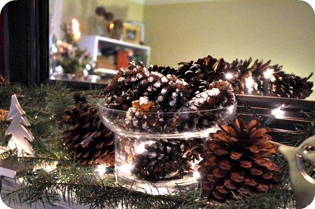 Snowy pinecone centrepiece